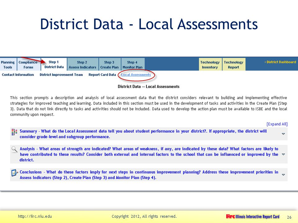District Data - Local Assessments http://iirc.niu.edu Copyright 2012, All rights reserved. 26