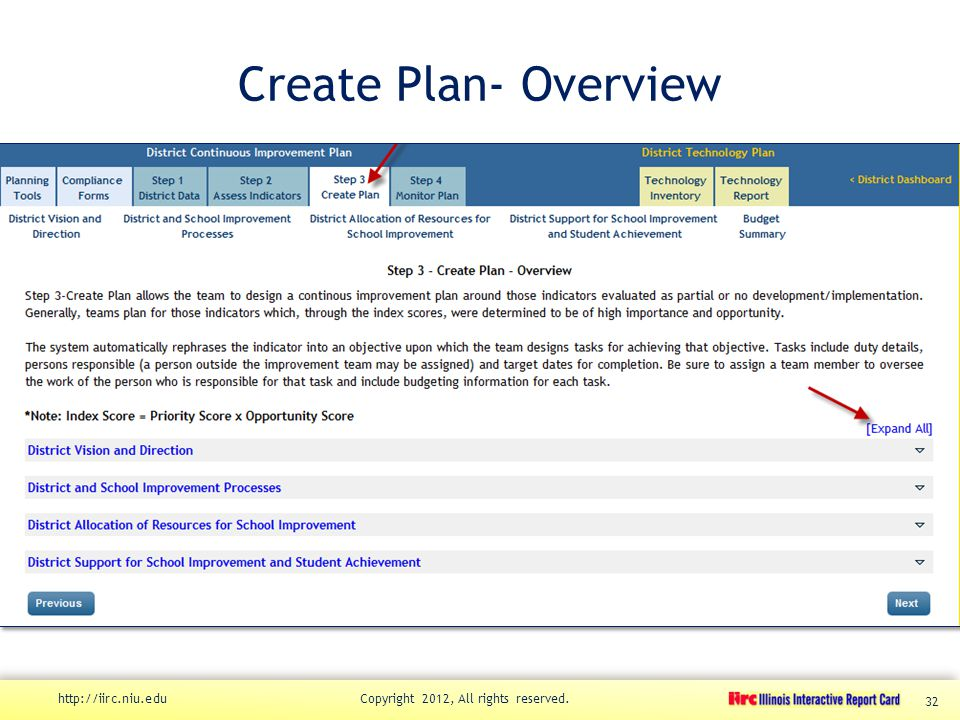 Create Plan- Overview http://iirc.niu.edu Copyright 2012, All rights reserved. 32