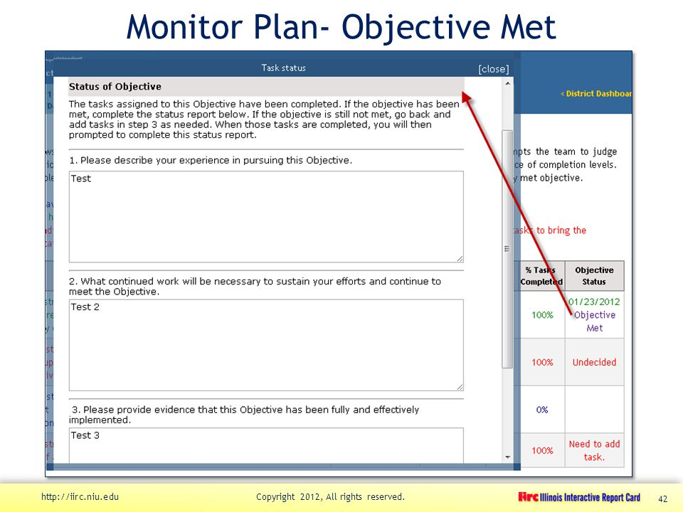 Monitor Plan- Objective Met http://iirc.niu.edu Copyright 2012, All rights reserved. 42