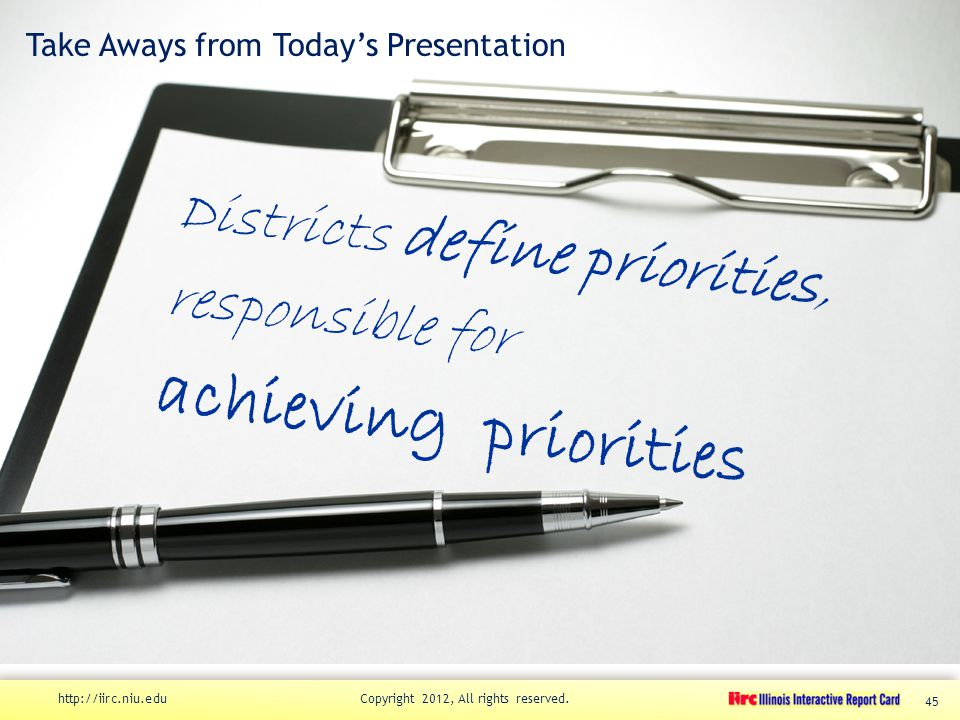 Take Aways from Today's Presentation Districts define priorities, responsible for achieving priorities http://iirc.niu.edu Copyright 2012, All rights reserved.