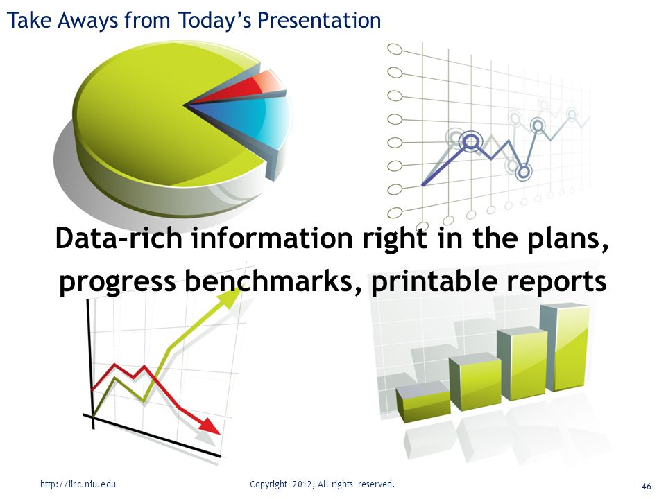 Take Aways from Today's Presentation Data-rich information right in the plans, progress benchmarks, printable reports http://iirc.niu.edu Copyright 2012, All rights reserved.