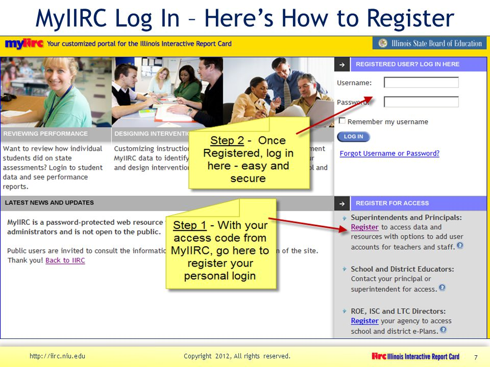 MyIIRC Log In – Here's How to Register http://iirc.niu.edu Copyright 2012, All rights reserved. 7
