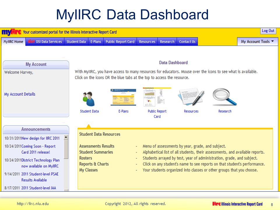 MyIIRC Data Dashboard http://iirc.niu.edu Copyright 2012, All rights reserved. 8