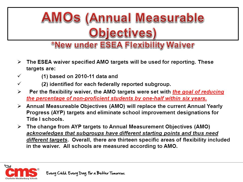  The ESEA waiver specified AMO targets will be used for reporting. These targets are: (1) based on 2010-11 data and (2) identified for each federally