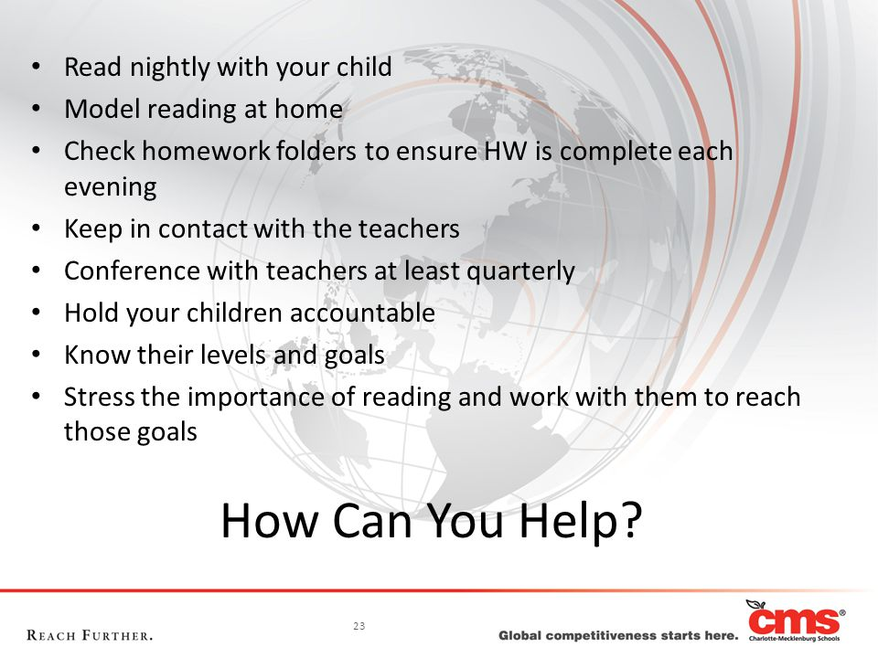 23 How Can You Help? Read nightly with your child Model reading at home Check homework folders to ensure HW is complete each evening Keep in contact w