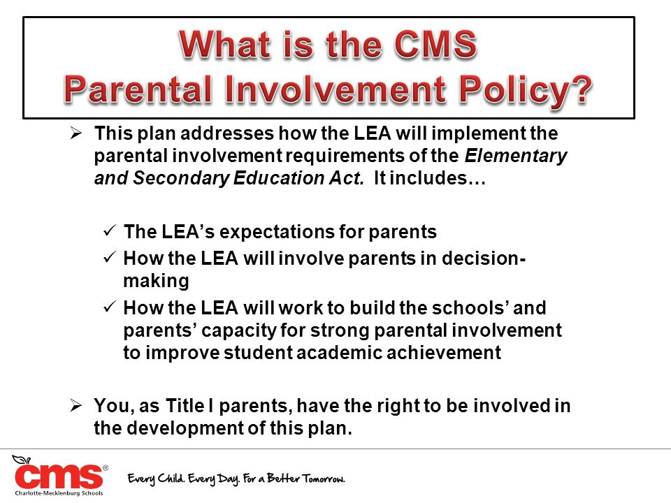  This plan addresses how the LEA will implement the parental involvement requirements of the Elementary and Secondary Education Act. It includes… The