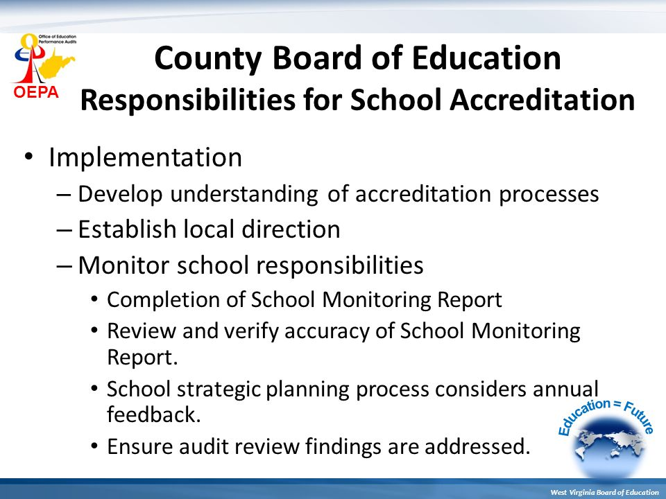 OEPA West Virginia Board of Education County Board of Education Responsibilities for School Accreditation Implementation – Develop understanding of accreditation processes – Establish local direction – Monitor school responsibilities Completion of School Monitoring Report Review and verify accuracy of School Monitoring Report.