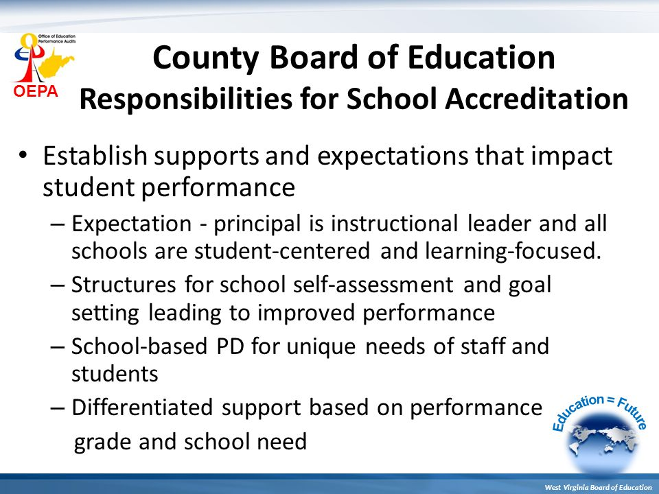 OEPA West Virginia Board of Education County Board of Education Responsibilities for School Accreditation Establish supports and expectations that imp