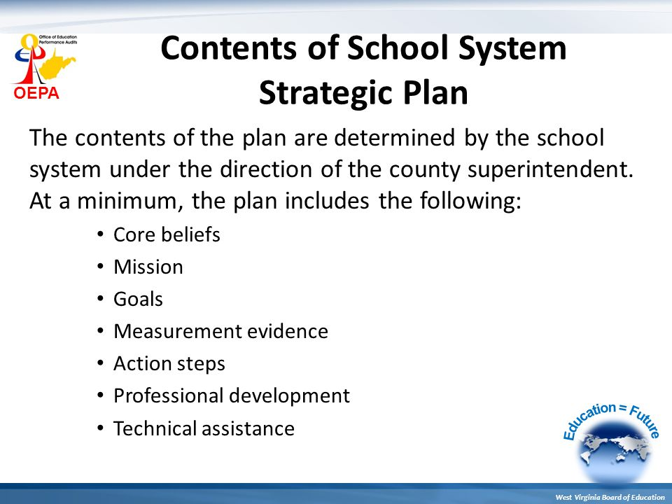 OEPA West Virginia Board of Education Contents of School System Strategic Plan The contents of the plan are determined by the school system under the