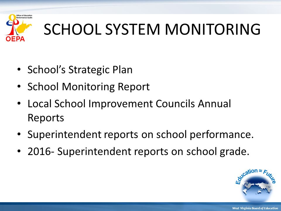 OEPA West Virginia Board of Education SCHOOL SYSTEM MONITORING School's Strategic Plan School Monitoring Report Local School Improvement Councils Annual Reports Superintendent reports on school performance.