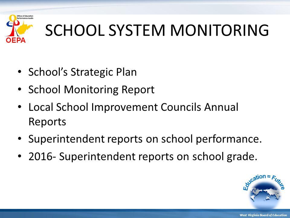 OEPA West Virginia Board of Education SCHOOL SYSTEM MONITORING School's Strategic Plan School Monitoring Report Local School Improvement Councils Annu