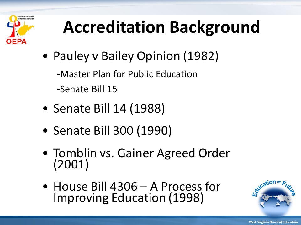 OEPA West Virginia Board of Education Accreditation Background Pauley v Bailey Opinion (1982) -Master Plan for Public Education -Senate Bill 15 Senate