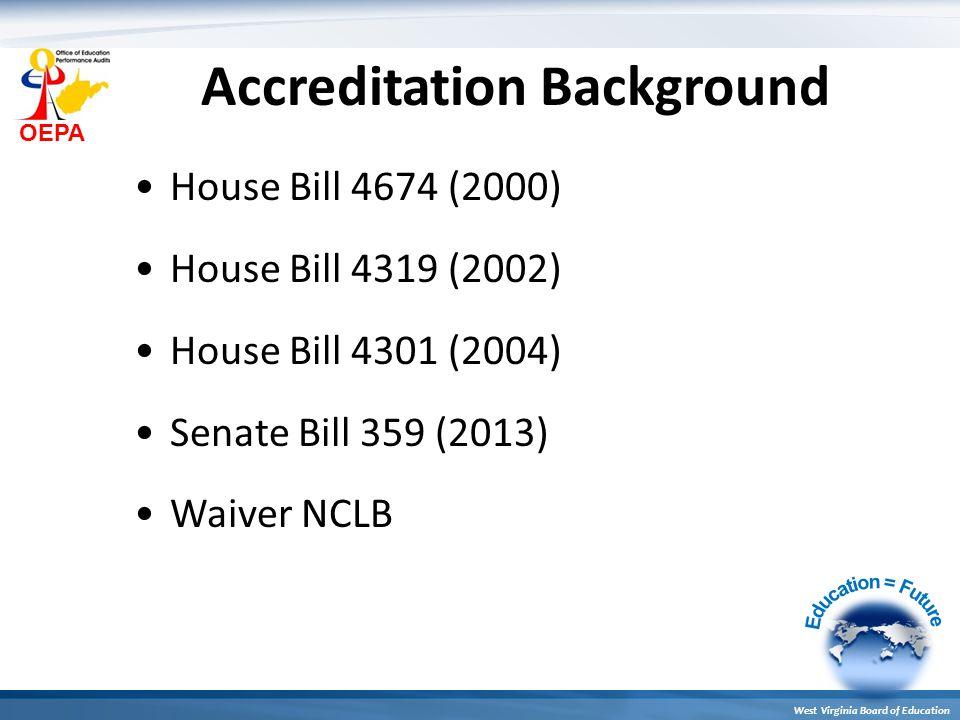 OEPA West Virginia Board of Education Accreditation Background House Bill 4674 (2000) House Bill 4319 (2002) House Bill 4301 (2004) Senate Bill 359 (2