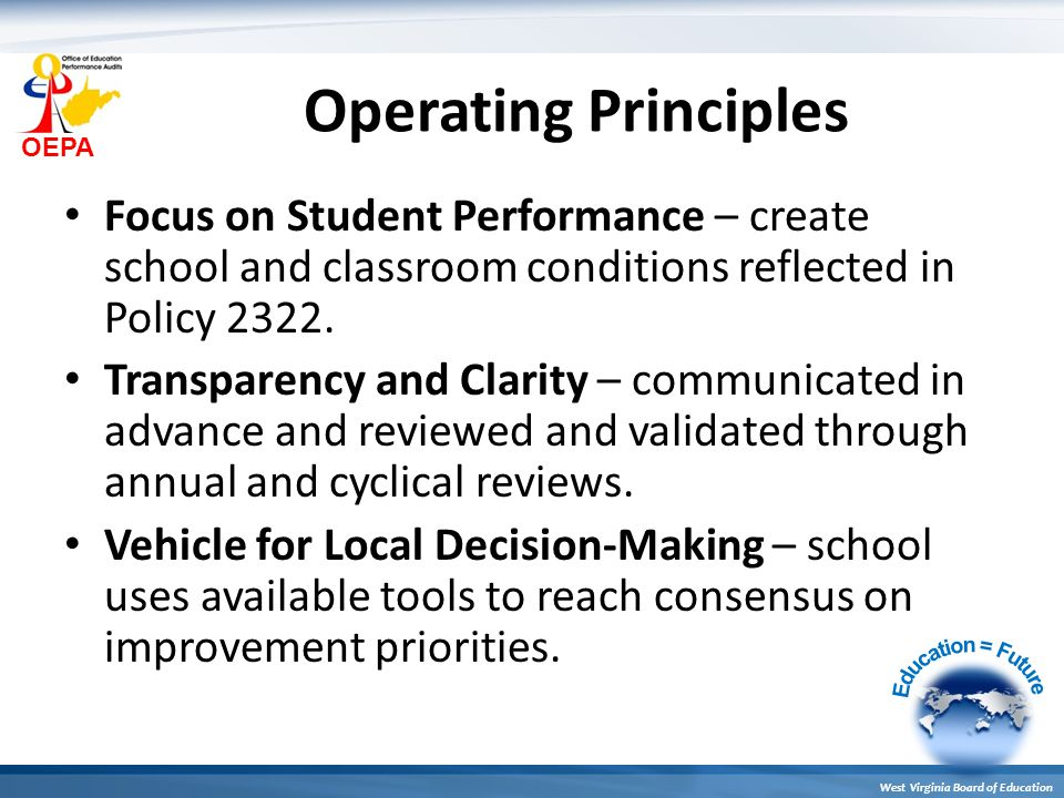 OEPA West Virginia Board of Education Operating Principles Focus on Student Performance – create school and classroom conditions reflected in Policy 2322.