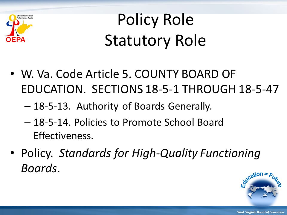 OEPA West Virginia Board of Education STANDARDS FOR HIGH QUALITY FUNCTIONING BOARDS Five Standards 1.Leadership and Advocacy 2.Relationship 3.Accountability 4.Quality Improvement 5.Board Operations