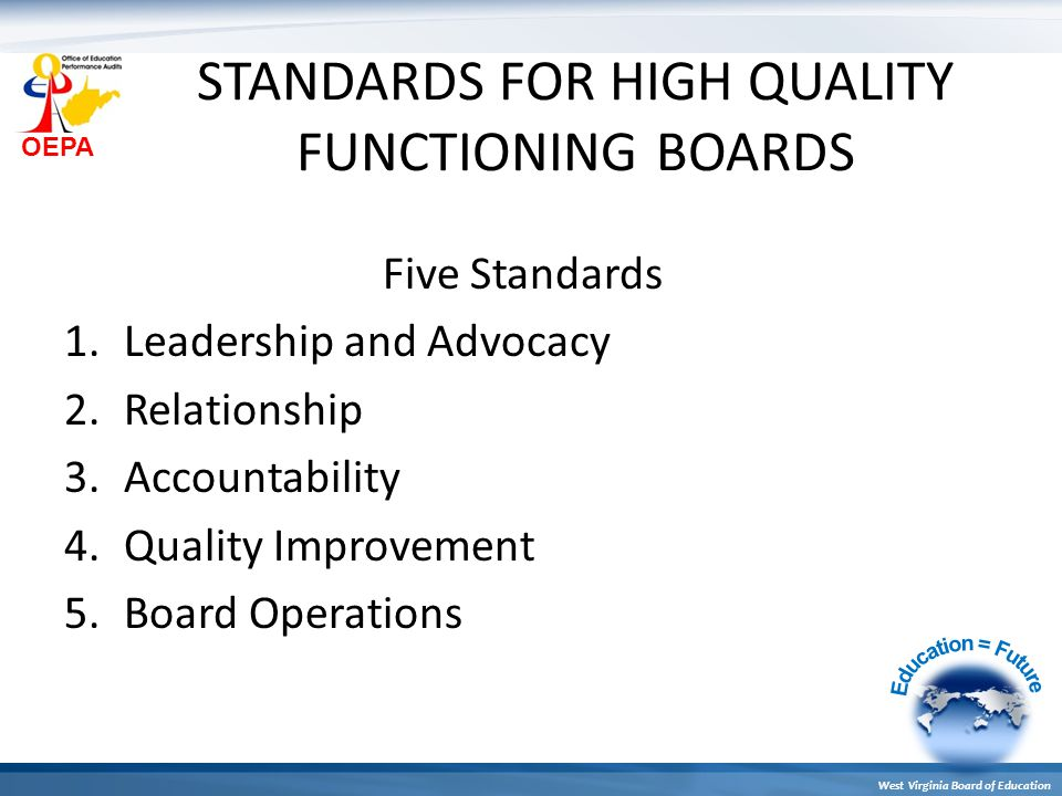 OEPA West Virginia Board of Education STANDARDS FOR HIGH QUALITY FUNCTIONING BOARDS Five Standards 1.Leadership and Advocacy 2.Relationship 3.Accounta
