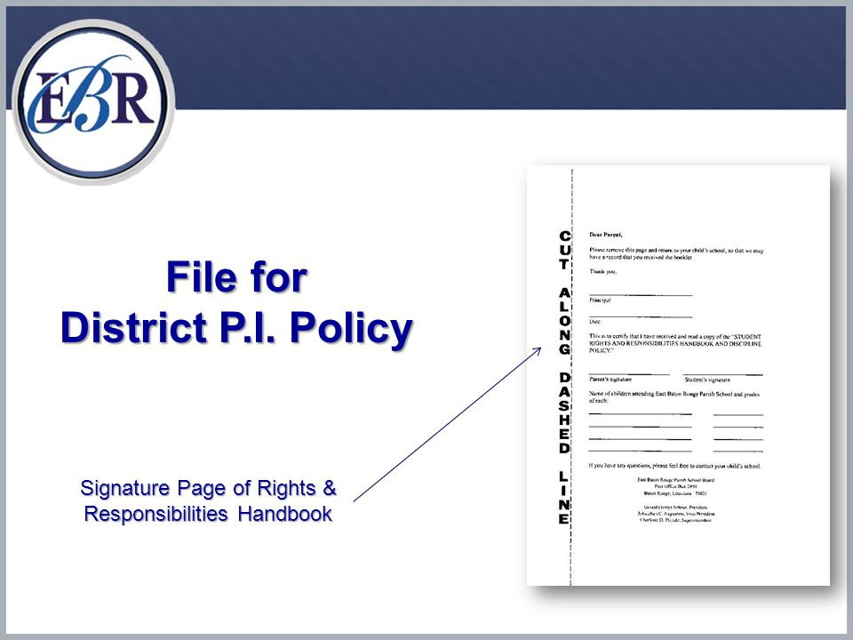 File for District P.I. Policy Signature Page of Rights & Responsibilities Handbook