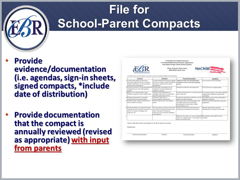 File for School-Parent Compacts Provide evidence/documentation (i.e.