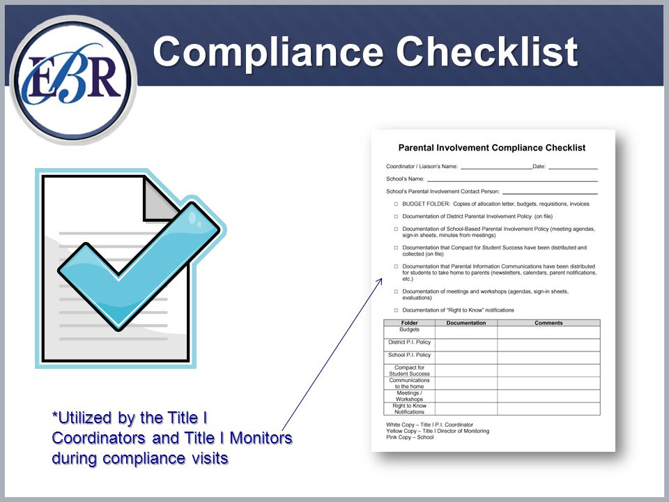 Compliance Checklist *Utilized by the Title I Coordinators and Title I Monitors during compliance visits