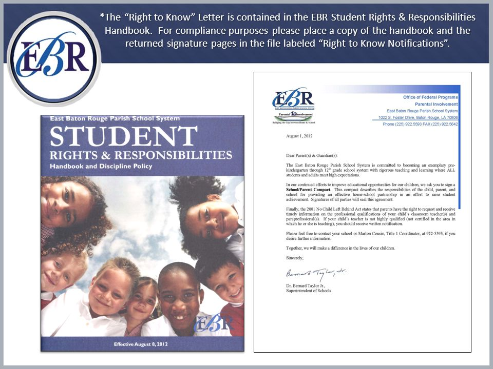 Title I, Part A Parental Notice Requirements Parental Notice Requirements When By whom SEALEASchools Parents' right to know – student achievement (schools provide to each individual parent information on the level of achievement of the parent's child in each of the State academic assessments).
