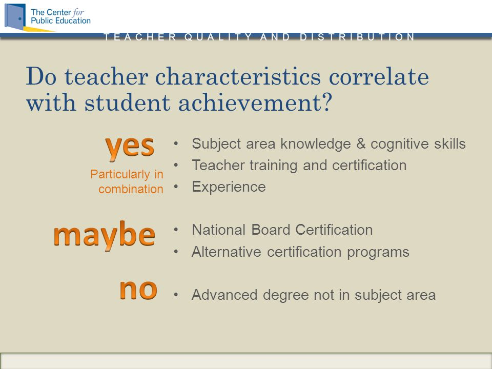 TEACHER QUALITY AND DISTRIBUTION Subject area knowledge & cognitive skills Teacher training and certification Experience National Board Certification Alternative certification programs Advanced degree not in subject area Do teacher characteristics correlate with student achievement.