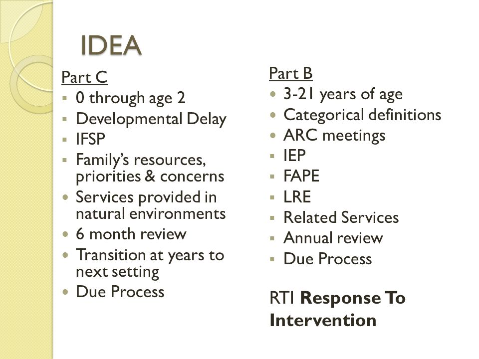 IDEA Part C  0 through age 2  Developmental Delay  IFSP  Family's resources, priorities & concerns Services provided in natural environments 6 month review Transition at years to next setting Due Process Part B 3-21 years of age Categorical definitions ARC meetings  IEP  FAPE  LRE  Related Services  Annual review  Due Process RTI Response To Intervention