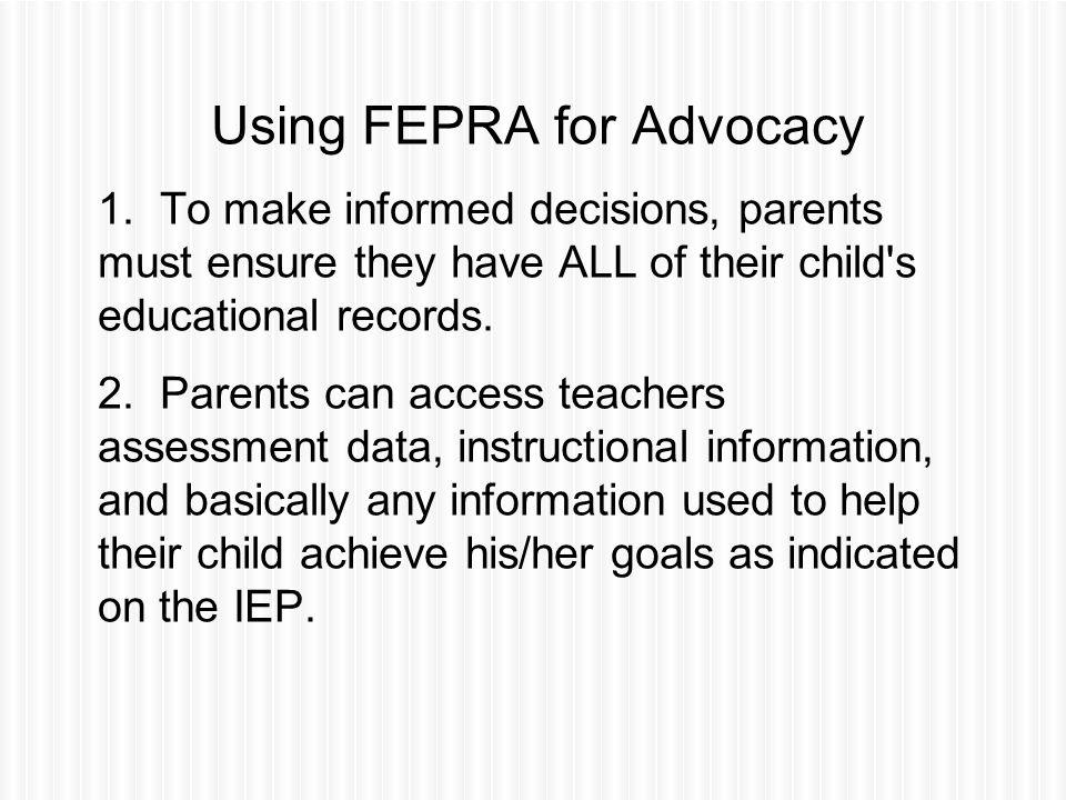 Using FEPRA for Advocacy 1.
