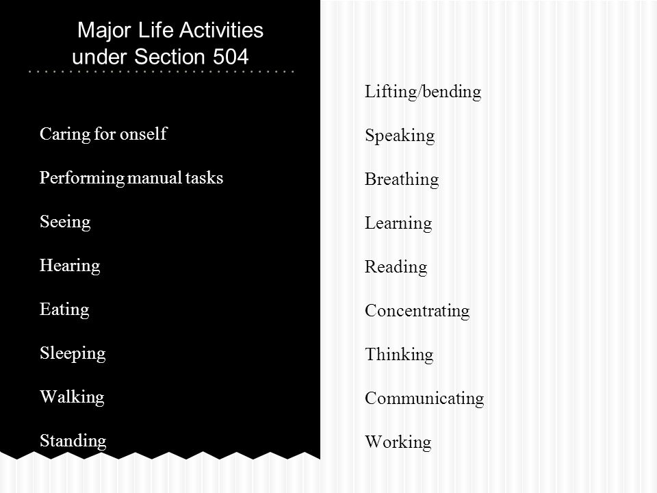 Caring for onself Performing manual tasks Seeing Hearing Eating Sleeping Walking Standing Major Life Activities under Section 504 Lifting/bending Speaking Breathing Learning Reading Concentrating Thinking Communicating Working