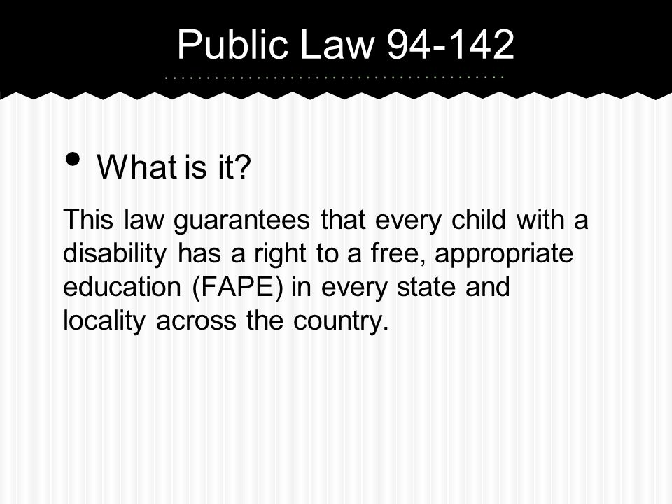 Public Law 94-142 What is it.