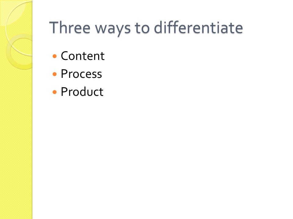 Three ways to differentiate Content Process Product