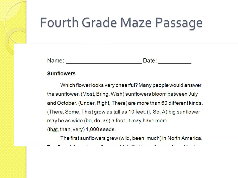 Fourth Grade Maze Passage