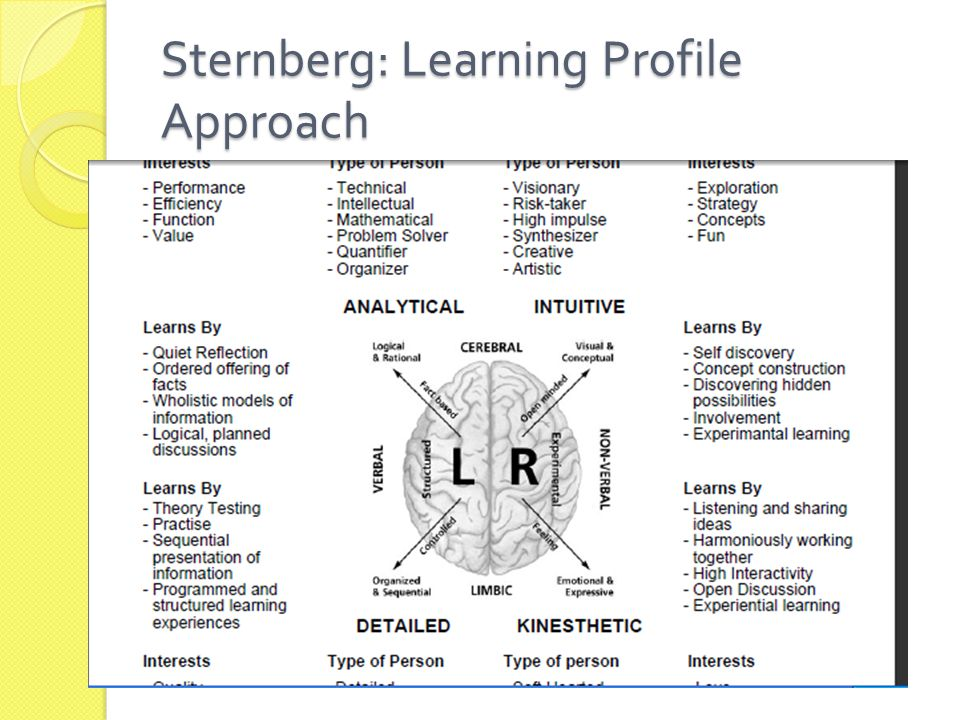 Sternberg: Learning Profile Approach