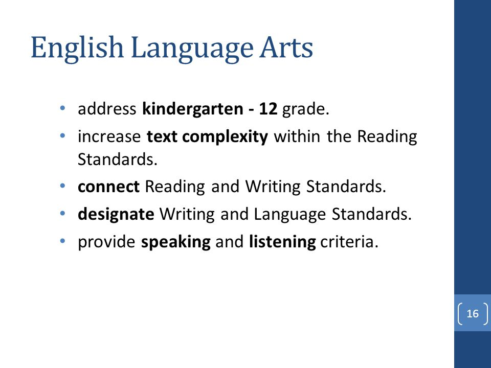 English Language Arts address kindergarten - 12 grade.