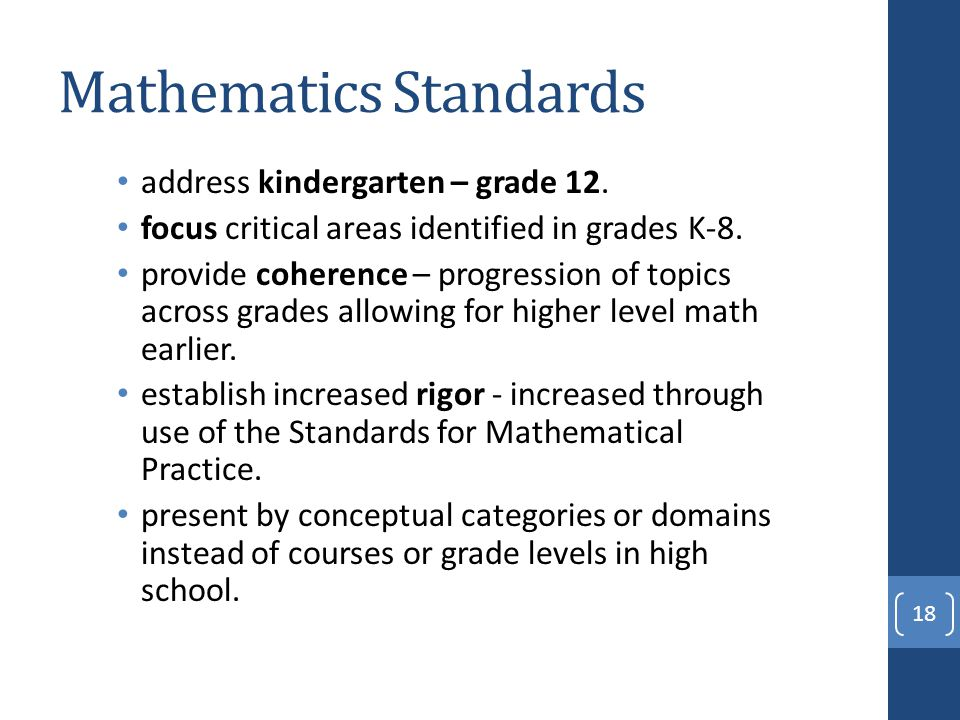 Mathematics Standards address kindergarten – grade 12.