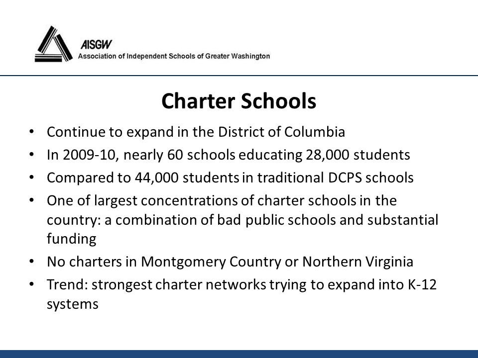 Continue to expand in the District of Columbia In 2009-10, nearly 60 schools educating 28,000 students Compared to 44,000 students in traditional DCPS