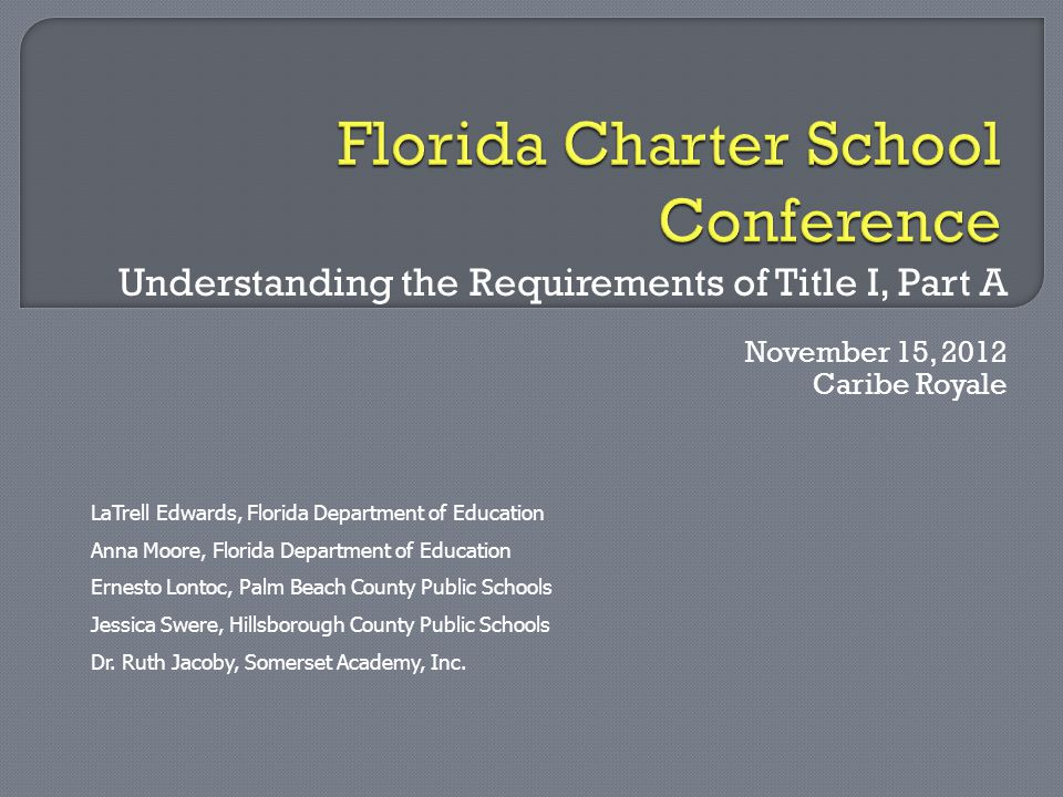 Understanding the Requirements of Title I, Part A November 15, 2012 Caribe Royale LaTrell Edwards, Florida Department of Education Anna Moore, Florida