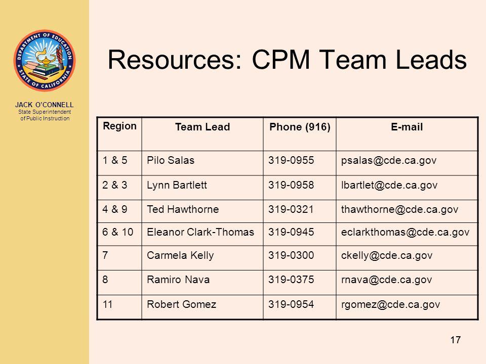 JACK O'CONNELL State Superintendent of Public Instruction 17 Resources: CPM Team Leads Region Team LeadPhone (916)E-mail 1 & 5Pilo Salas319-0955psalas@cde.ca.gov 2 & 3Lynn Bartlett319-0958lbartlet@cde.ca.gov 4 & 9Ted Hawthorne319-0321thawthorne@cde.ca.gov 6 & 10Eleanor Clark-Thomas319-0945eclarkthomas@cde.ca.gov 7Carmela Kelly319-0300ckelly@cde.ca.gov 8Ramiro Nava319-0375rnava@cde.ca.gov 11Robert Gomez319-0954rgomez@cde.ca.gov