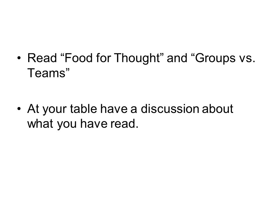Read Food for Thought and Groups vs.