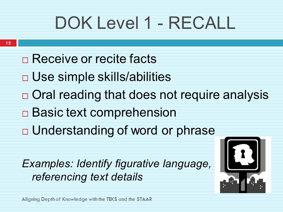 DOK Level 1 - RECALL  Receive or recite facts  Use simple skills/abilities  Oral reading that does not require analysis  Basic text comprehension