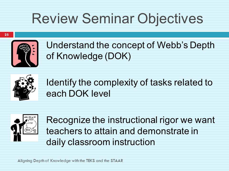 Review Seminar Objectives Understand the concept of Webb's Depth of Knowledge (DOK) Identify the complexity of tasks related to each DOK level Recogni