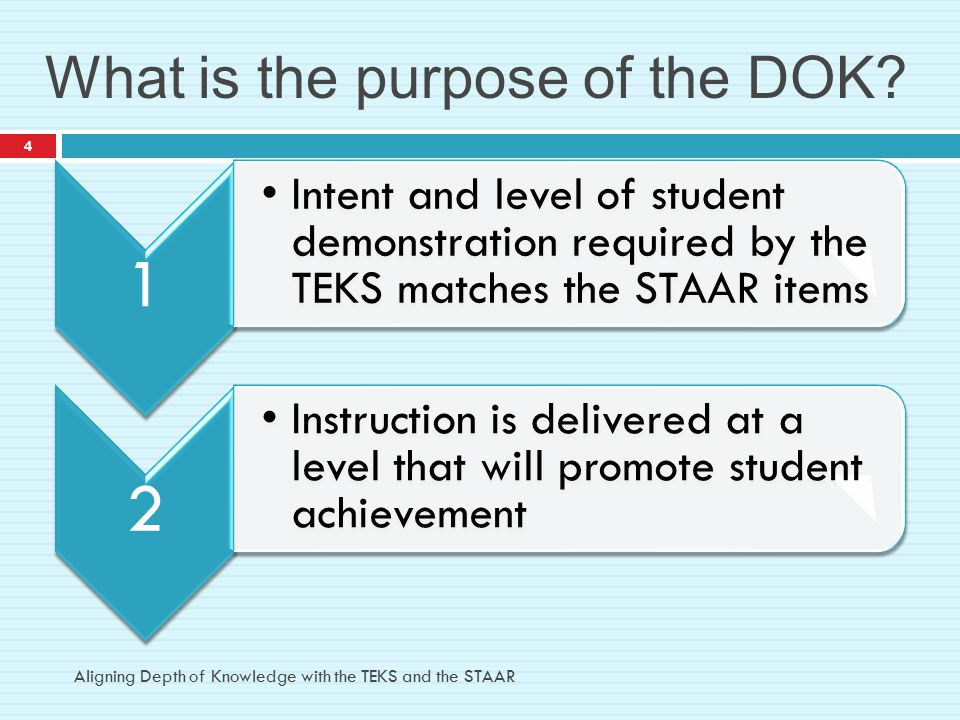 What is the purpose of the DOK? Aligning Depth of Knowledge with the TEKS and the STAAR 4 1 Intent and level of student demonstration required by the