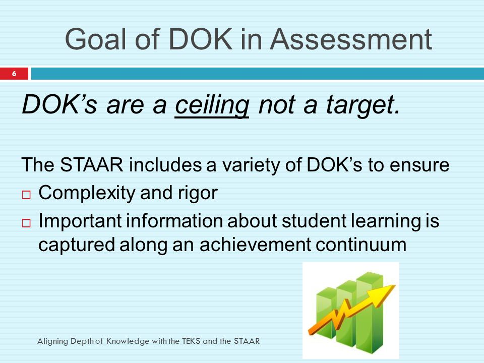 Goal of DOK in Assessment DOK's are a ceiling not a target. The STAAR includes a variety of DOK's to ensure  Complexity and rigor  Important informa