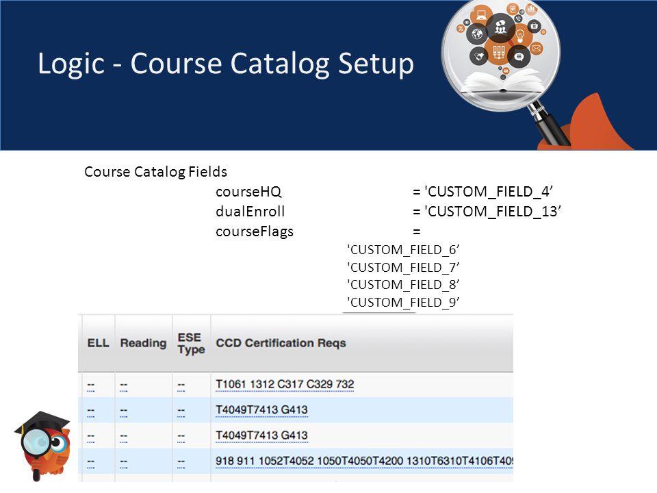 Logic - Course Catalog Setup Course Catalog Fields courseHQ = CUSTOM_FIELD_4' dualEnroll= CUSTOM_FIELD_13' courseFlags= CUSTOM_FIELD_6' CUSTOM_FIELD_7' CUSTOM_FIELD_8' CUSTOM_FIELD_9'