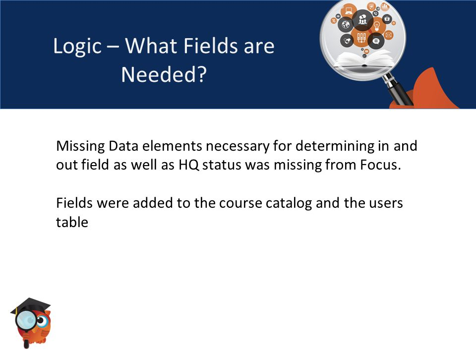 Logic – What Fields are Needed.