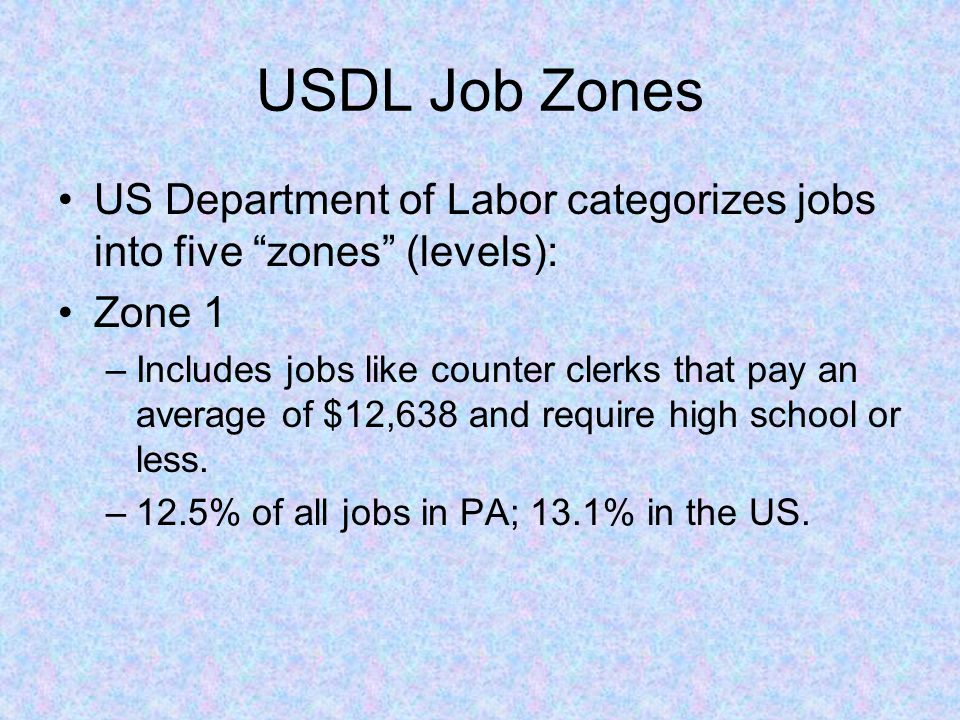USDL Job Zones US Department of Labor categorizes jobs into five zones (levels): Zone 1 –Includes jobs like counter clerks that pay an average of $12,638 and require high school or less.
