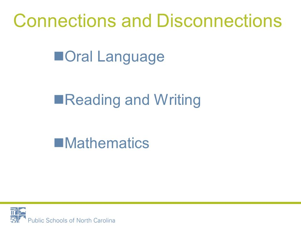 Language, Reading and Mathematics Connections and Disconnections