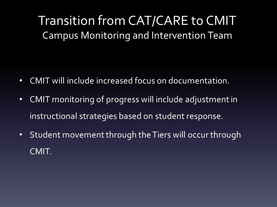 Transition from CAT/CARE to CMIT Campus Monitoring and Intervention Team CMIT will include increased focus on documentation.