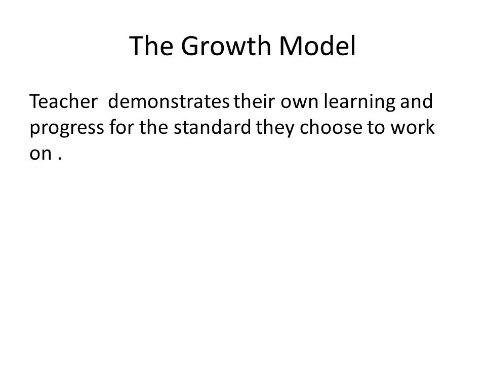 The Growth Model Teacher demonstrates their own learning and progress for the standard they choose to work on.