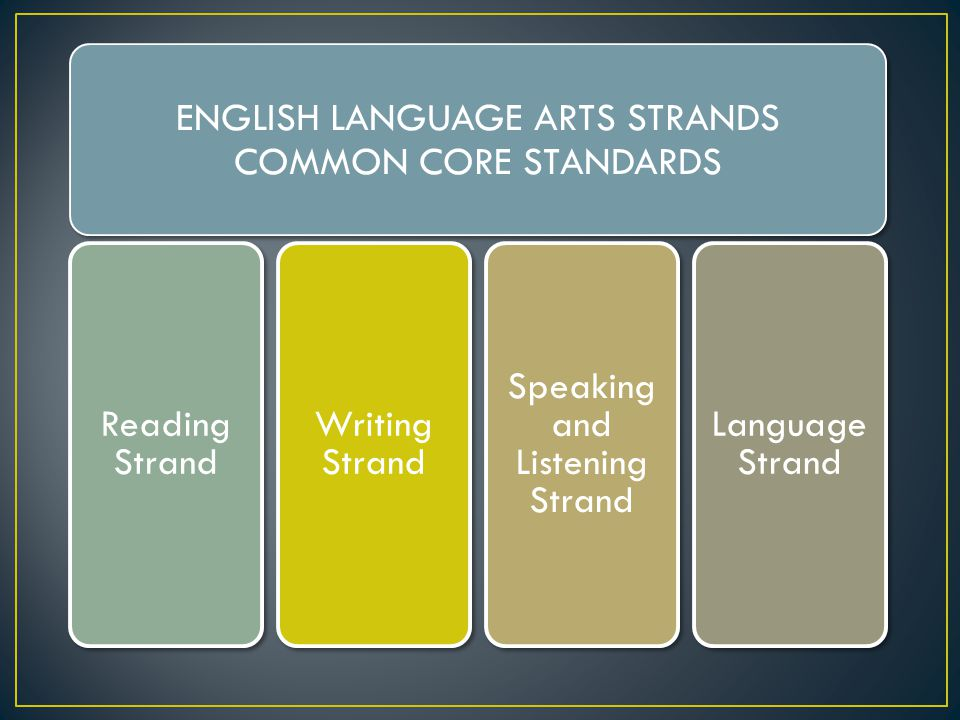 ENGLISH LANGUAGE ARTS STRANDS COMMON CORE STANDARDS Reading Strand Writing Strand Speaking and Listening Strand Language Strand