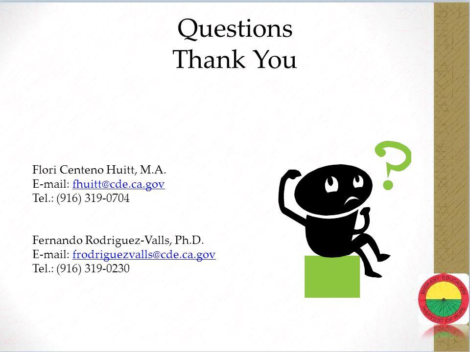 Questions Thank You Flori Centeno Huitt, M.A.